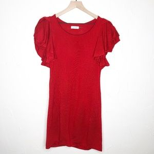 Calvin Klein | Red Ruffle Sleeve Sweater Dress - M
